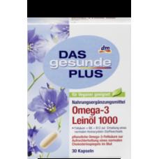 DAS gesunde PLUS Omega-3 Leinöl 1000 Kapseln, 30 St-Витаминный комплекс Omega-3 Leinol  c маслом льна Фолиевая кислота + B6+B12