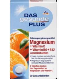 DAS gesunde PLUS Magnesium + Vitamin C + Vitamin B6 + B12 Lutschtabletten, 30 St