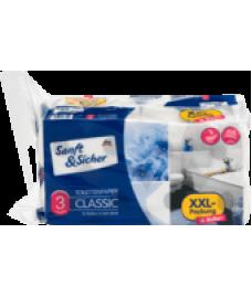Sanft&Sicher Toilettenpapier 3-lagig, 16x200 Blatt, 3200 Bl-Туалетная бумага 3-х слойная 16 рулонов