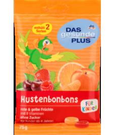 DAS gesunde PLUS Hustenbonbons für Kinder rote & gelbe Früchte zuckerfrei, 75 g-детские конфеты от кашля