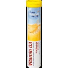 DAS gesunde PLUS Vitamin D3 Brausetabletten, 20 St -Витамин Д 3 с яблочным и лимонным вкусом - Без добавления сахара