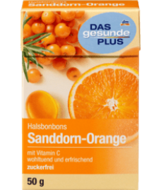 DAS gesunde PLUS Husten-Bonbon, Sanddorn-Orange, zuckerfrei, 50 g-Облепиха-Апельсин Леденцы для горла, без сахара, 50 г