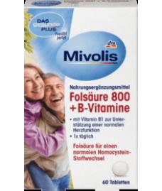 Mivolis Folsäure 800 + B-Vitamine, Tabletten, 19 g Фолиевая кислота, витамины B 6 и B 12