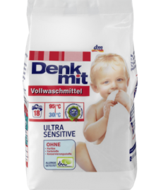 Стиральный порошок Denkmit Vollwaschmittel Ultra Sensitive для белого детского белья и чувствительной кожи.
