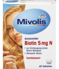 Mivolis  Biotin 5 mg N Tabletten, 60 St-Биоти́н  водорастворимый витамин  для здоровья ногтей, волос и кожи.